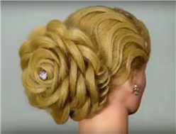 Wedding hairstyle rose shaped