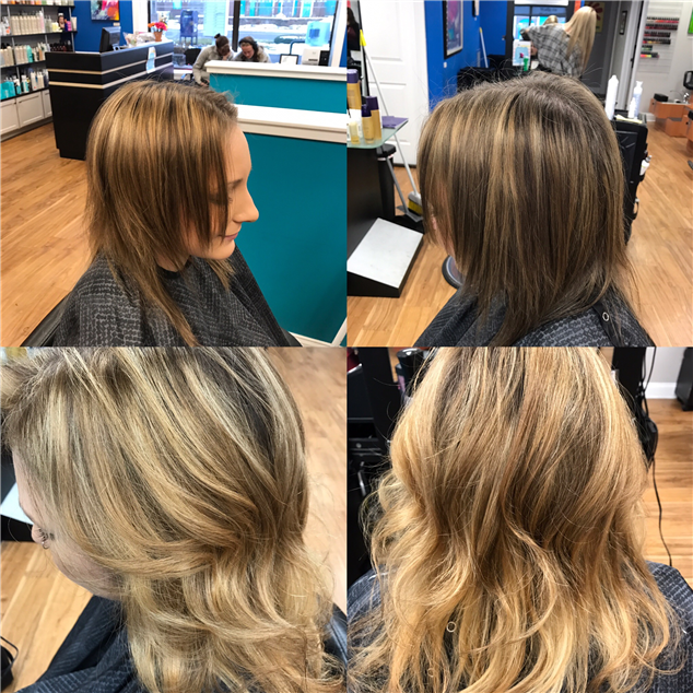 Color correction using balayage technique