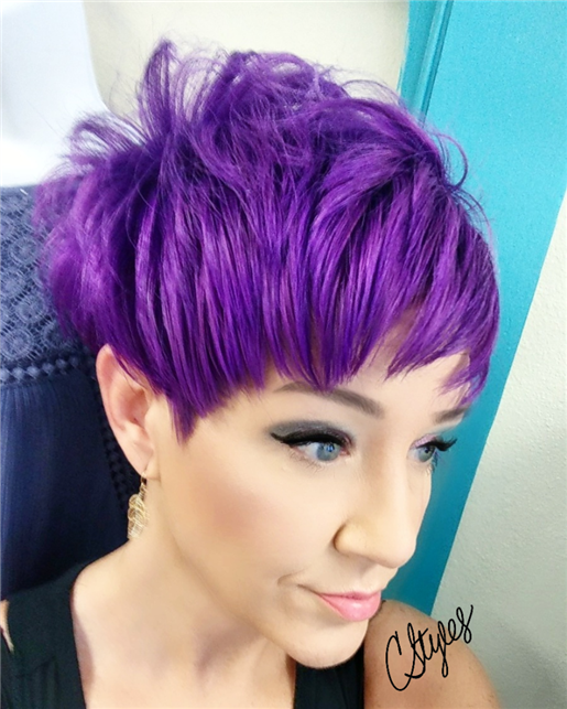 Vivid purple pixie hair cut