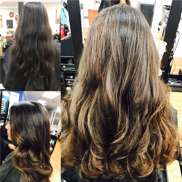 Balayage from honey to a lighter blond