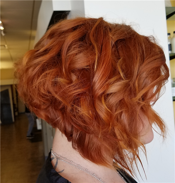Inverted bob with copper color melt