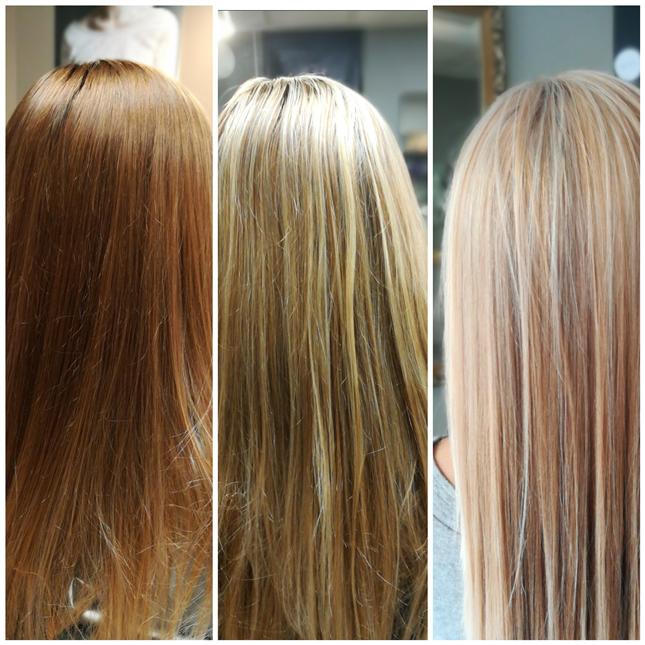 Balayage blond irisé